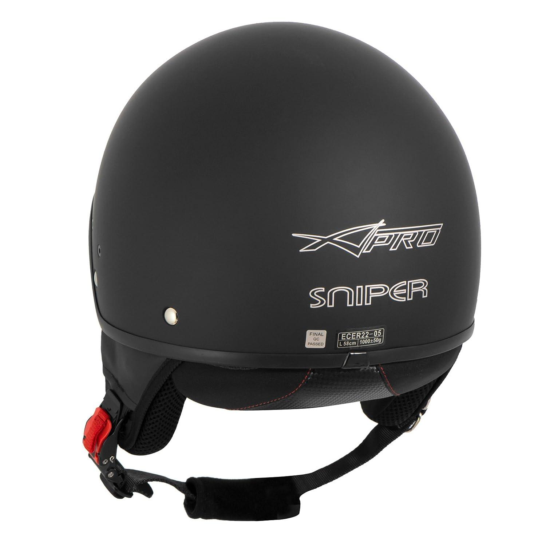 Casque Moto Scooter Vespa Jet Visiere Pare-Soleil ECE 22 Noir L
