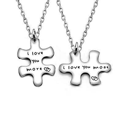 cc6687fc598e2 Image Unavailable. Image not available for. Color  AGR8T Valentine Couple  Pendant Necklace Birthday Jewelry Set 2Pcs - I Love You More ...