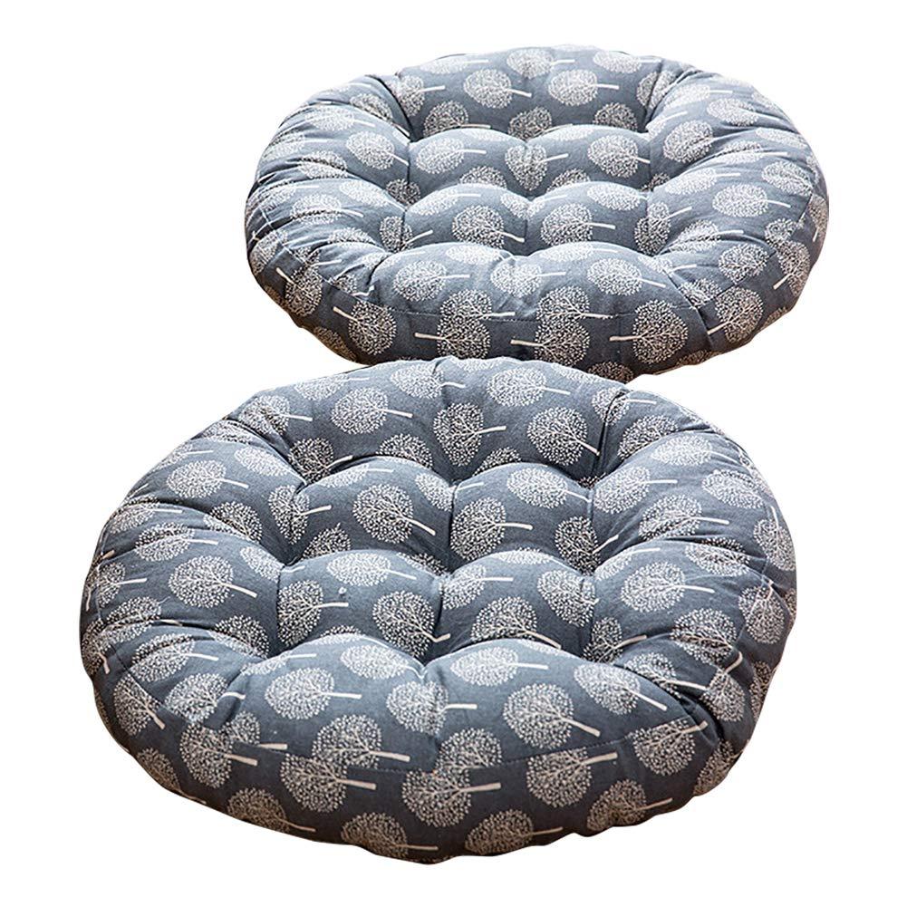 TMJJ Cotton & Linen Round Floor Pillow Cushion Japanese Style Futon Seat Cushion Thicken Chair Wave Window Pad 21'' x 21'',Set of 2 (Dark Happy Tree)