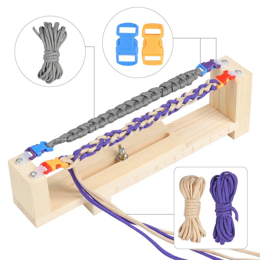 WOWOSS 13pcs Armband Wristband Maker Set Kn/üpfhilfe Flechtvorrichtung f/ür Armb/änder Selber Machen mit 6 St/ück Paracord /& 6 St/ück Schnallen,Ideal f/ür bei Lanyards,Halsb/änder und andere Kn/üpfprojekte