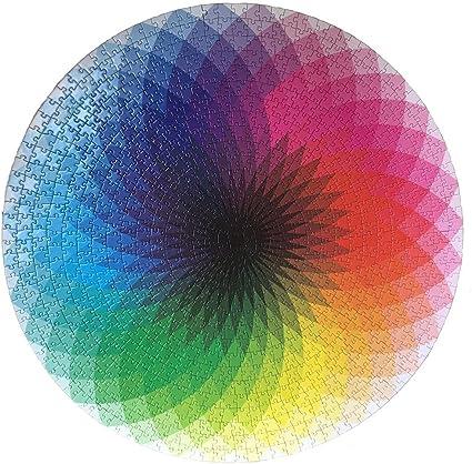 LRRH 1000 Pcs Round Jigsaw Puzzles Rainbow Palette Intellectual ...