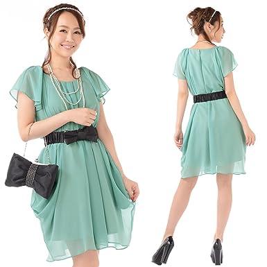 6501b9c46040a シフォン ドレープ コクーンドレス パーティドレス ワンピース ミントグリーン