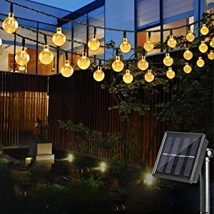 Cosumina Outdoors Globe Solar String Lights 23ft 50 LED Outdoor Bulb String Lights,Waterproof 8 Modes Solar Patio Lights for Patio, Garden, Gazebo, Yard