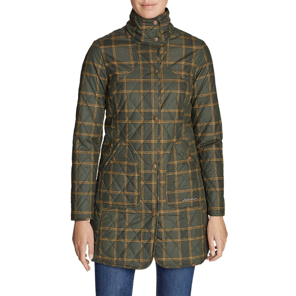 Eddie Bauer Women's Year-Round Field Coat - Plaid, Olive Plus 1X
