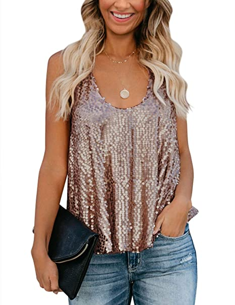 pretty cheap provide large selection of elegant shape OUNAR Sequin Tank Tops Women Rose Gold Shirt Glitter Sparkly Top Party  Clubwear
