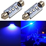 """Alla Lighting CANBUS Error Free 42mm (1.7"""")Super Bright White High Power 3030 SMD 211-2 212-2 569 578 LED Bulbs for Interior Festoon Map Dome License Plate Lights Lamps Replacement (Blue)"""