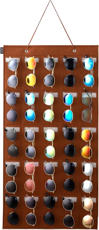 KGMCARE Sunglasses Organizer Storage- Hanging Eyeglasses Wall Pocket Mounted,Eyewear Display,25 Slots