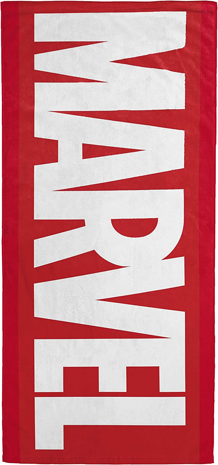 """Jay Franco Marvel Red Logo Kids Bath/Pool/Beach Towel - Super Soft & Absorbent Fade Resistant Cotton Towel, Measures 28"""" x 58"""" (Official Marvel Product)"""
