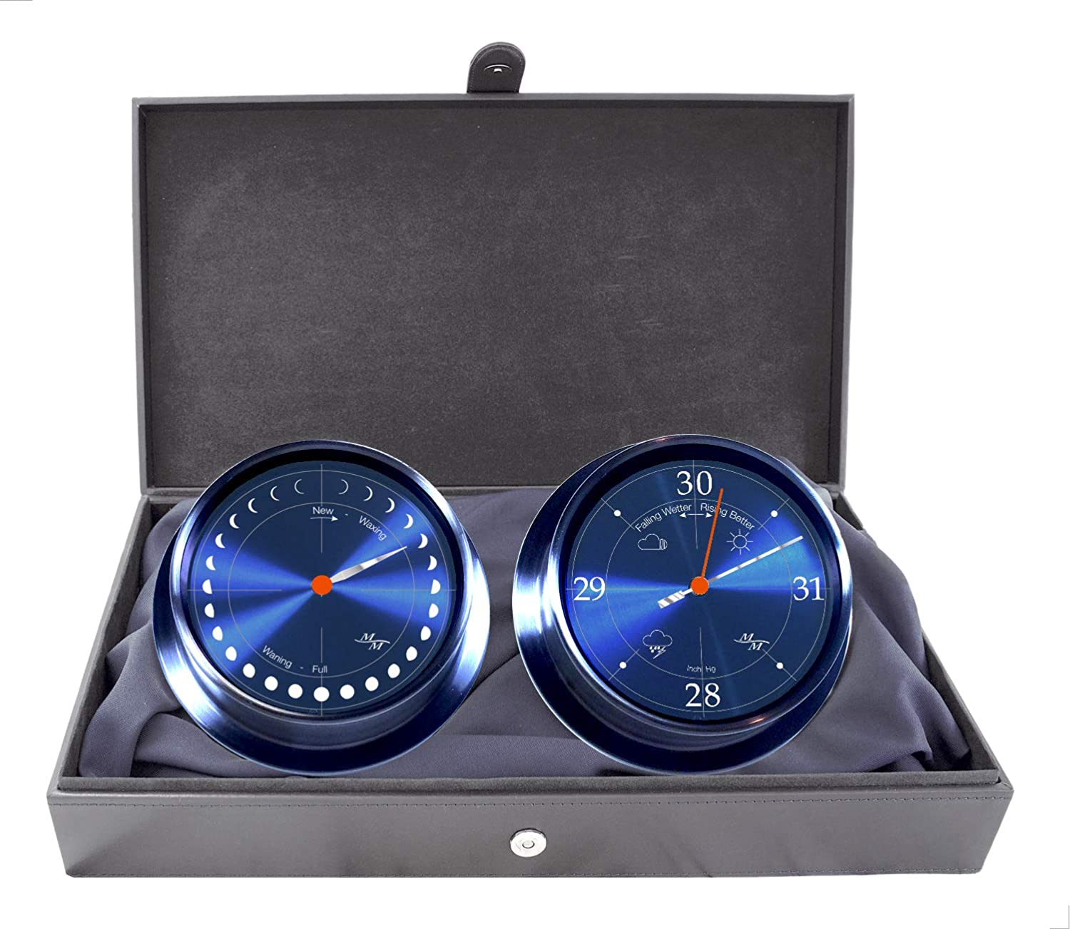 """Image of Barometers Master-Mariner Eclipse Collection Set, 5.75"""" Diameter Astronomical Moon Phase Clock and Barometer Instruments, Graphite Steel Finish, Cobalt Blue dial"""