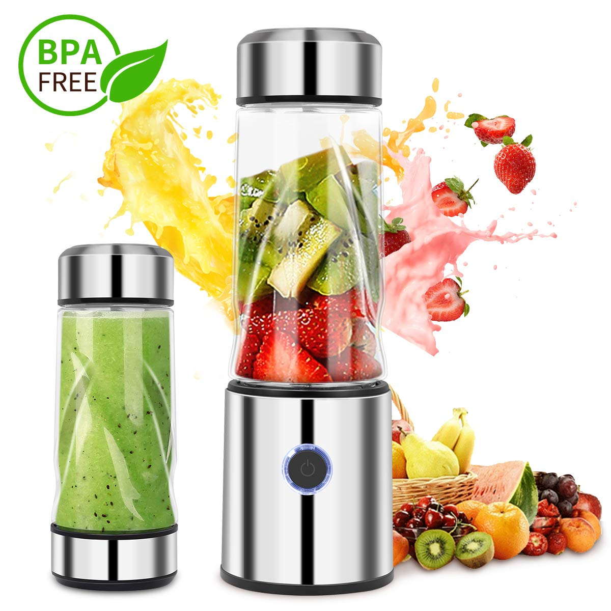 iFedio Personal Portable Blender Smoothie USB Rechargeable Quiet Mini Mixer Juicer Travel,Sports, Home Food-Grade 14(oz) Silver by iFedio