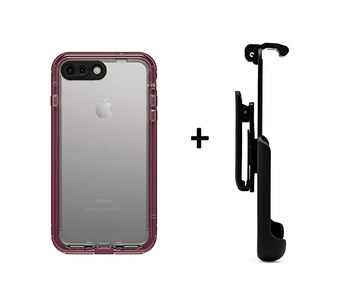 meet 7b01f c9f9d LifeProof NUUD Series Waterproof Case for iPhone 7 Plus (ONLY) - Plum Reef  (Purple/Clear) + Belt Clip Holster