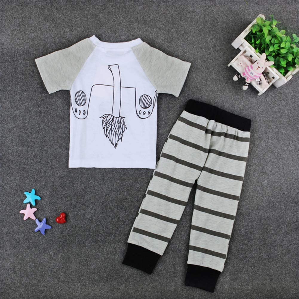 Short Sleeve for Baby Infant Boy Pajamas Set Lion Shirt and Striped Pants