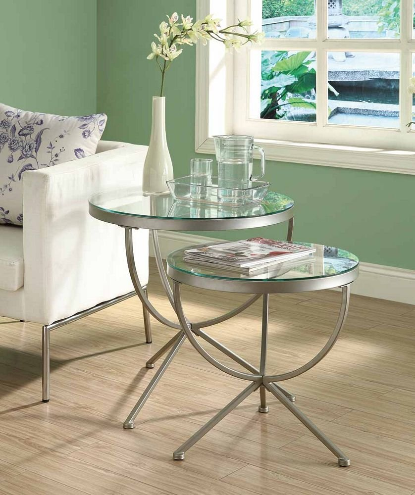 Amazon.com: Monarch Round Satin Nesting Tables With Tempered Glass   2  Piece Set: Kitchen U0026 Dining