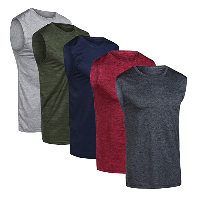 56ef36eb Men's Quick Dry Fit Dri-Fit Jersey Sleeveless Tank Top Muscle Yoga Active  Performance Sport