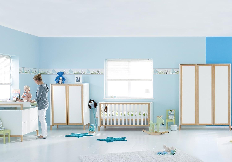 Herlag H1969-101 Kinderzimmer Alex, bestehend aus: Kinderbett, Kommode, Wickelplatte, Kleiderschrank 3-türig, weiß/natur
