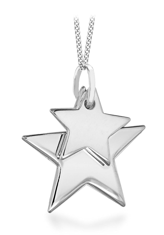 Tuscany silver sterling silver small double star pendant on curb tuscany silver sterling silver small double star pendant on curb chain of 46 cm18 inch amazon jewellery aloadofball Choice Image