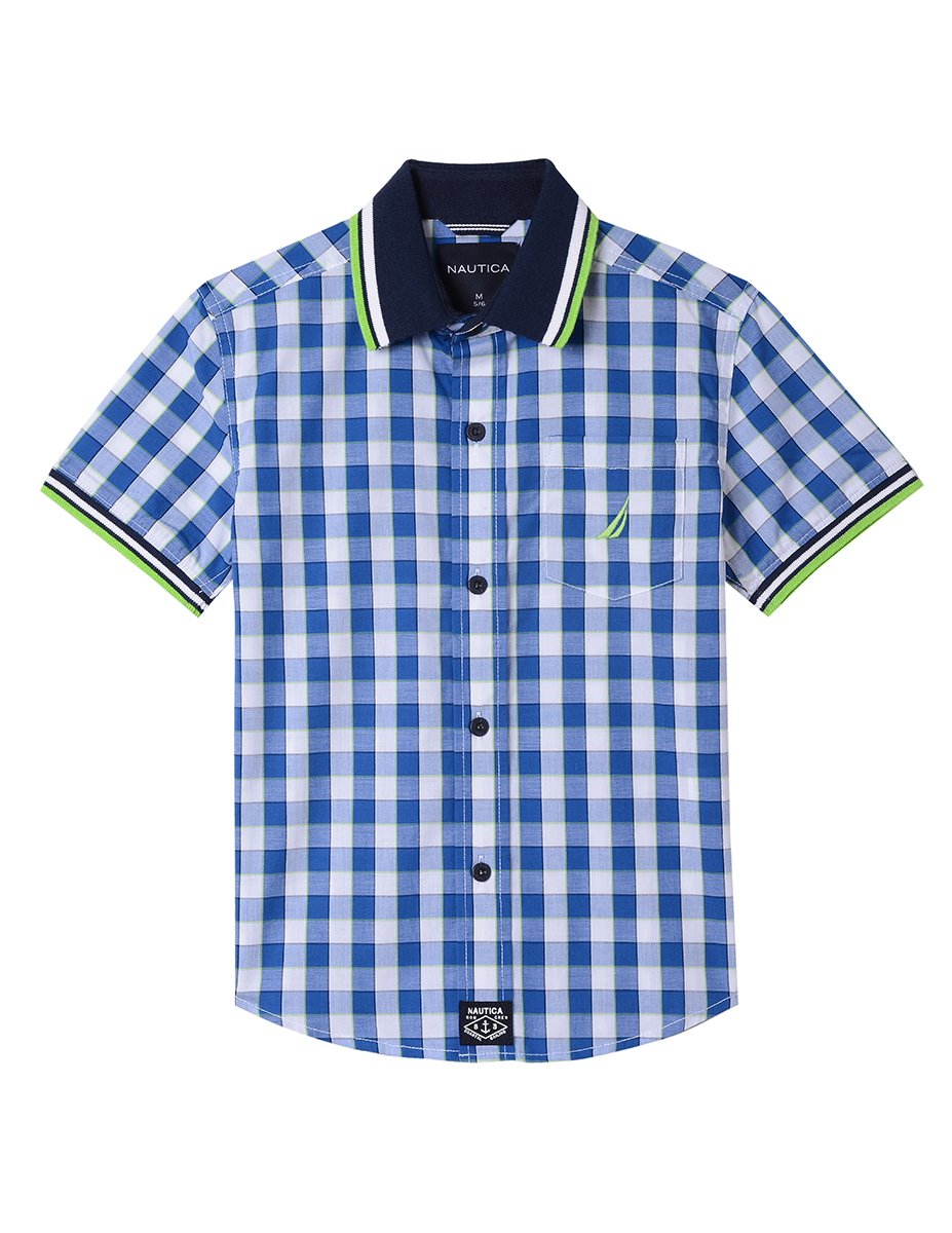 Nautica Boys' Big' Short Sleeve Gingham Woven Shirt, Atladena Lapis Blue, Large (14/16)