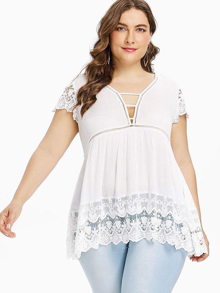 Blusas Tallas Grandes Tops Mujer Elegante Moda Shirts Mini Vestido ...