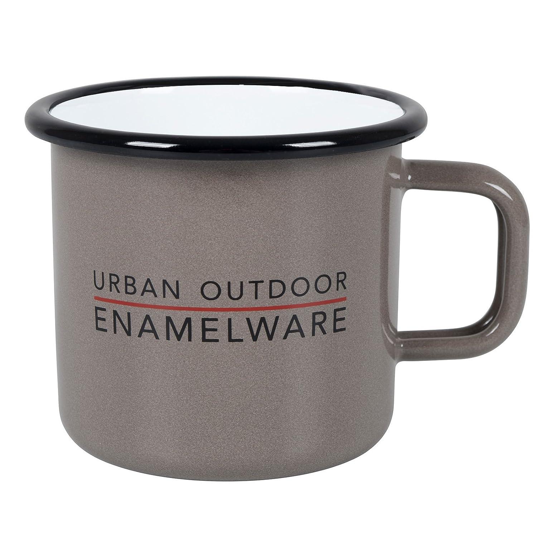 Bo-Camp 6101800 Emaille Kaffeebecher Lagerfeuer Kaffee Tasse Camping Becher Outdoor Geschirr 400 ml Taupe