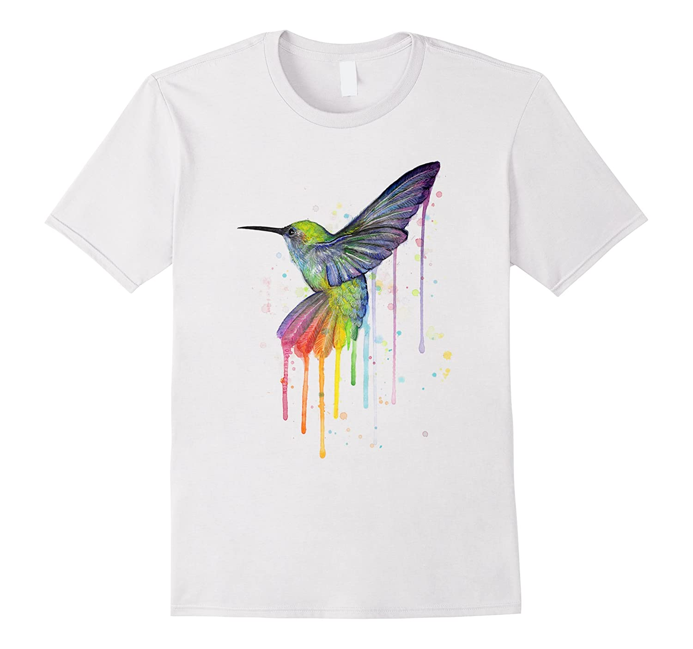 Colorful Hummingbird with Splash Effect Design TShirt-Art