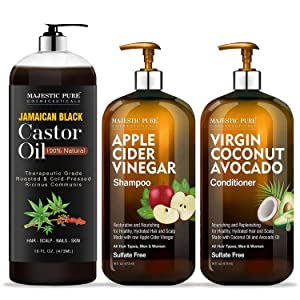 Majestic Pure Jamaican Black Castor Oil (16 oz) and Apple Cider Vinegar Shampoo & Coconut Avocado Conditioner Set (16 oz each) Bundle