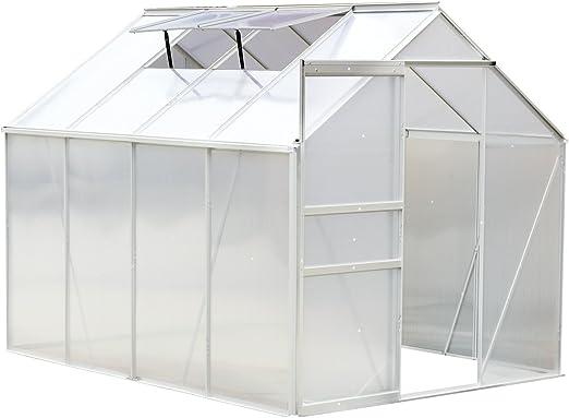 Invernadero de jardín de aluminio y policarbonato de 9, 17 m³ 2, 5 x 1, 9 x 1, 93 m (largo x ancho x alto) con ventanas y puerta corredera 59: Amazon.es: Jardín