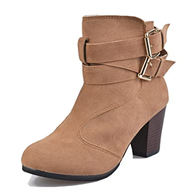 Amazon.com: henraly Mujer Botas cuadrado tacones botas de ...