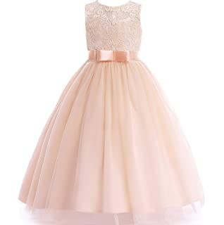 43b675732 Glamulice Girls Lace Bridesmaid Dress Long A Line Wedding Pageant Dresses  Tulle Party Gown Age 3