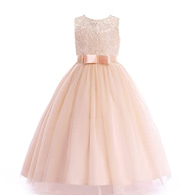 aae01c57f Glamulice Girls Lace Bridesmaid Dress Long A Line Wedding Pageant Dresses  Tulle Party Gown Age 3
