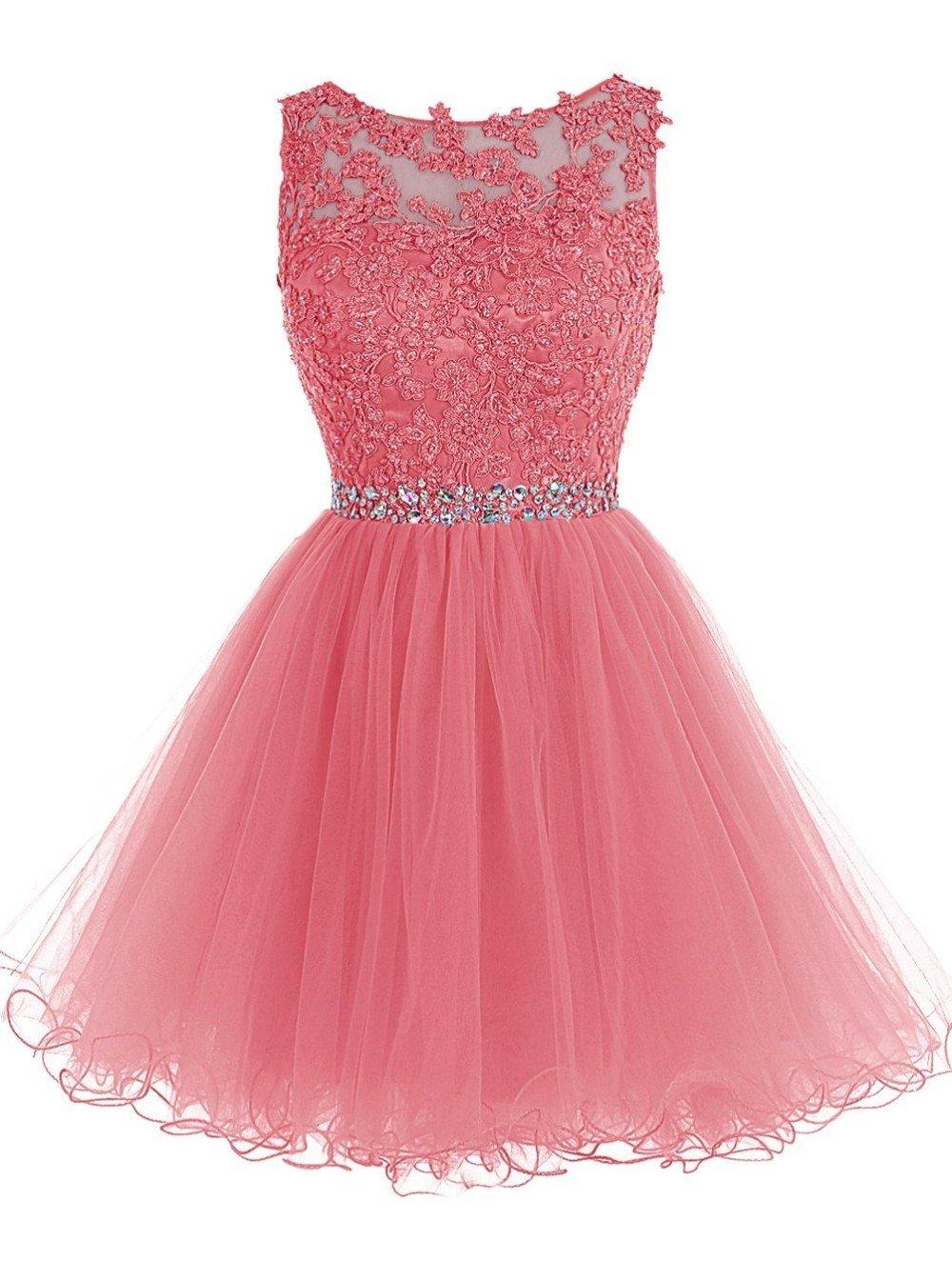 Formal Wedding Dresses.Simple A Line Short Tulle Junior Bridesmaid Dresses Formal Wedding Guest Watermelon 20plus