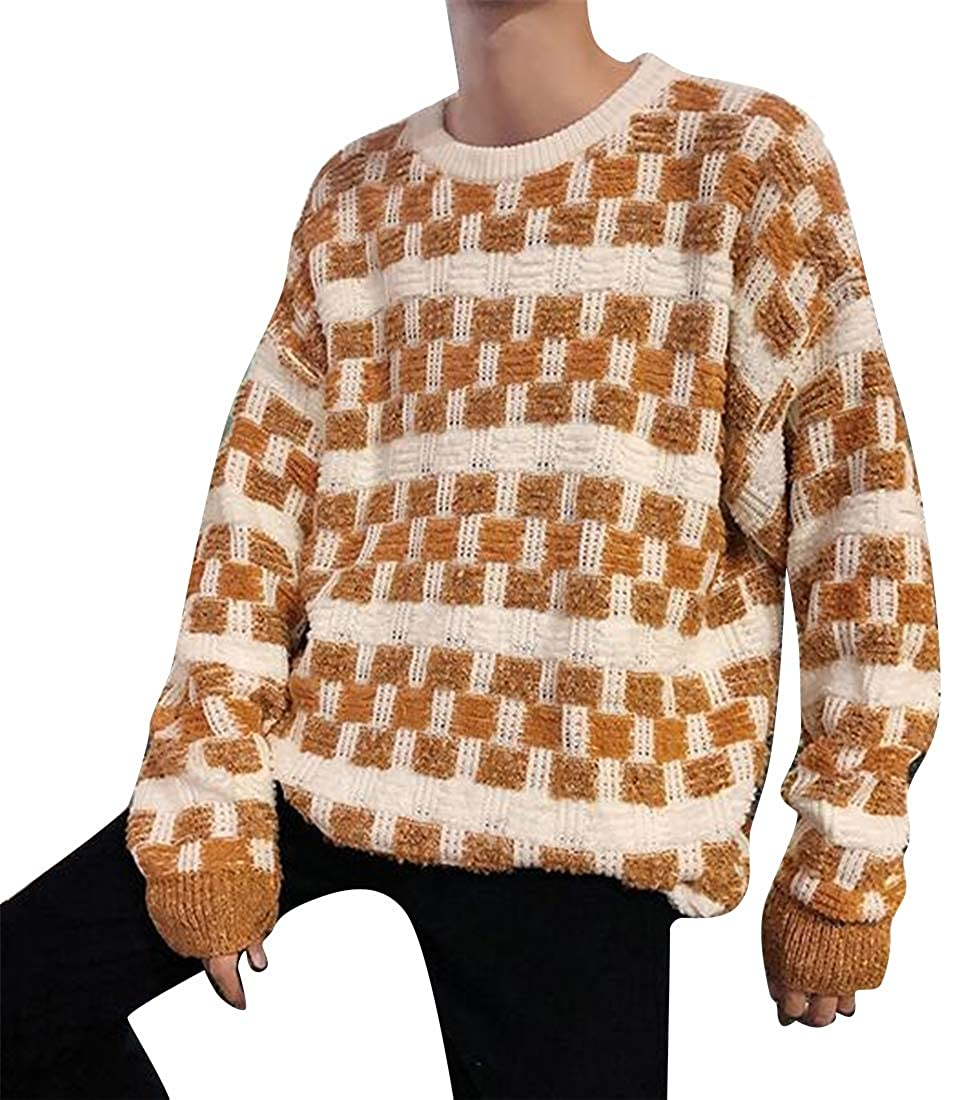 ARTFFEL Men Crew Neck Knitting Lattice Thermal Relaxed Fit Pullover Sweater