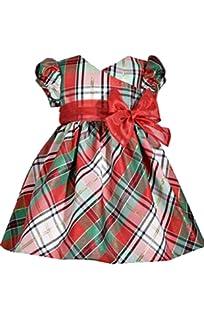 cdea020ca14 Bonnie Jean Short Sleeve Christmas Dress with Tartan Plaid and Bow at Waist