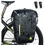 WATERFLY Bike Pannier Bag Water Resistant Extensible Bicycle Rear Seat Bag Bike Rack Carrier with Rain Cover for Riding Cycling