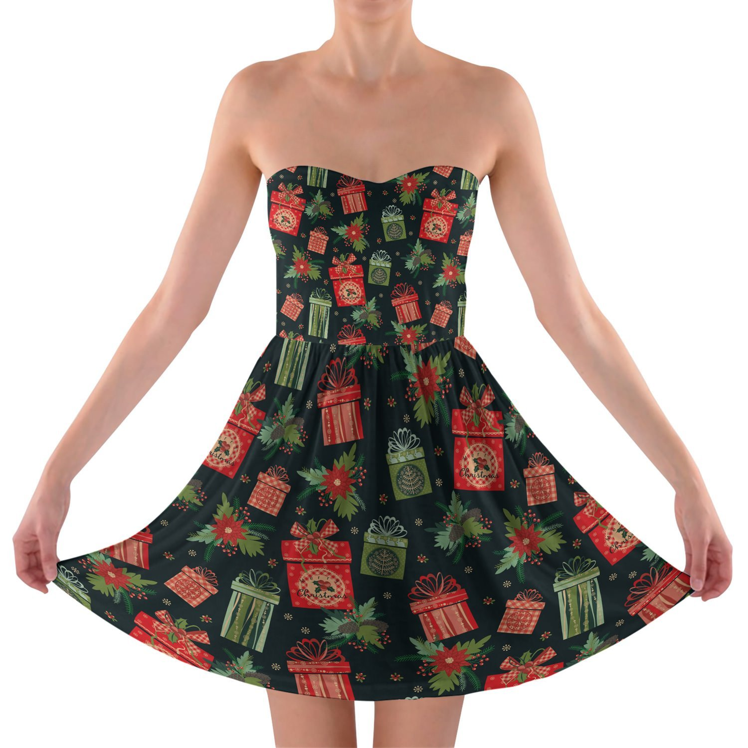 Merry Christmas Gifts Strapless Bra Top Dress