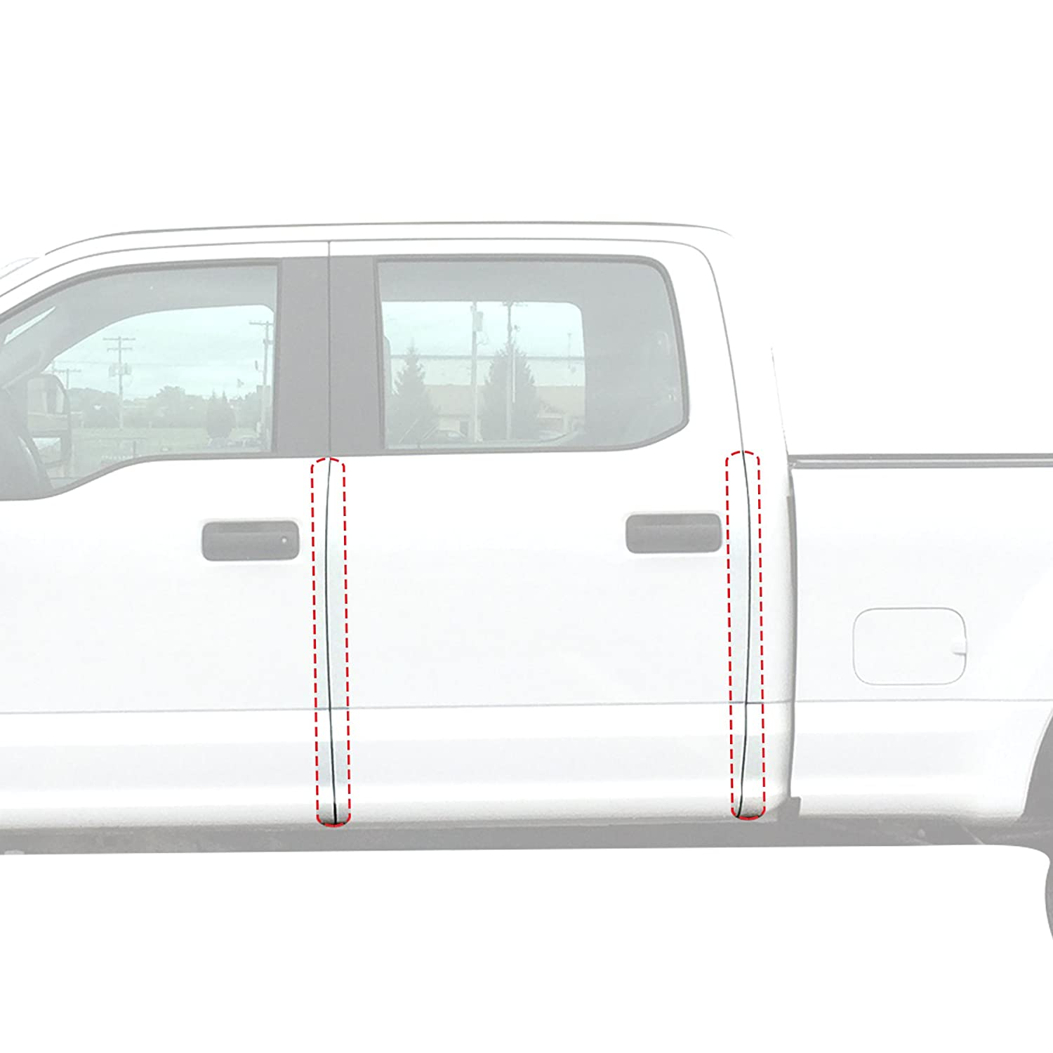 Red Hound Auto Door Edge Lip Guards 2017-2018 Compatible with Ford Super Duty F250/F350 Crew Cab 4pc Clear Paint Protector Film Not Universal Pre-Cut Custom Fit