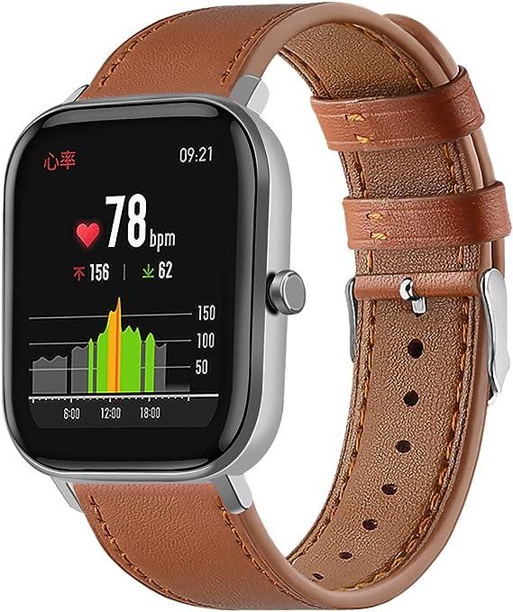 Amazon.com: Turnwin Leather WatchBand Compatible with Huami ...