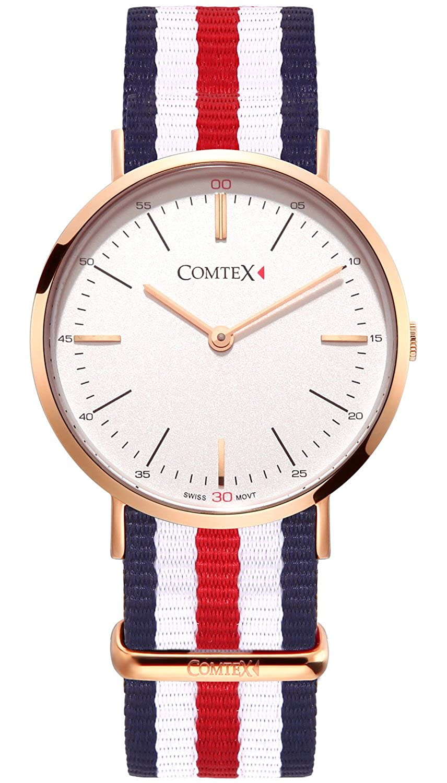Comtex Quarz Damen Armbanduhr Rose Gold Ton Klassisches Damen-Armbanduhr mit Stoff Riemen