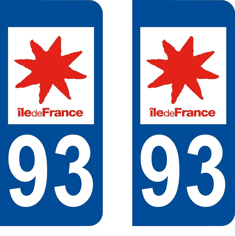 SAFIRMES 2 Stickers Autocollant Style Plaque Immatriculation département 93