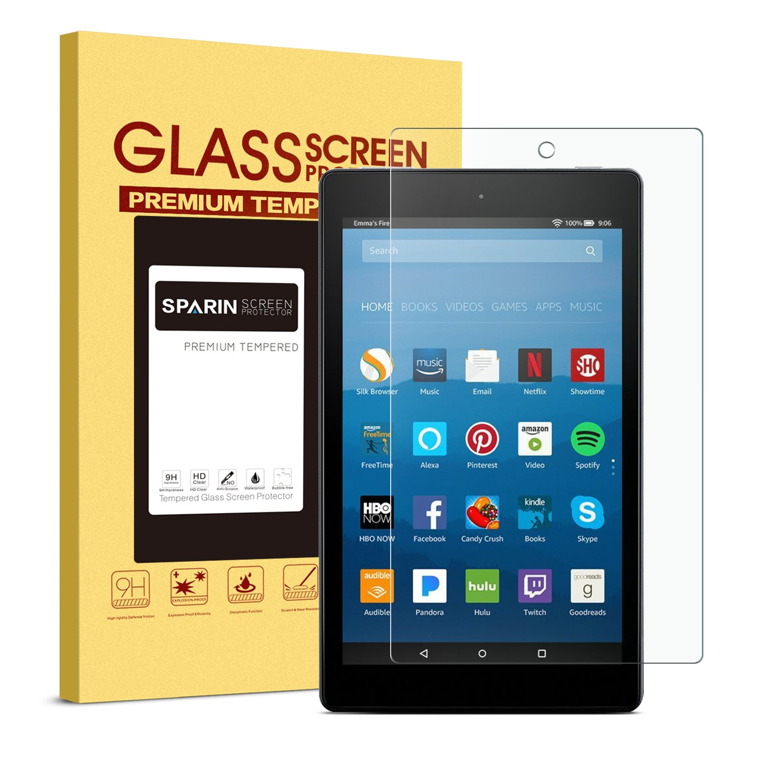 SPARIN Screen Protector for Fire HD 8 (2018/2017 / 2016 Release), Tempered Glass Screen Protector Compatible for All-New Fire HD 8 Tablet