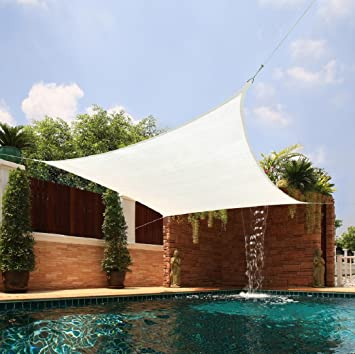 Sun Shade Sail Medium Size (Creme Color) Square Extra Heavy Breathable  Fabric Garden