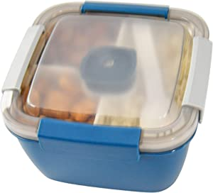 HOME-X Section Lunch Box, Lunch Containers for Kids and Adults, Multi-Compartment Food Box, Salad Dressing Container, Spork, 6 ¾