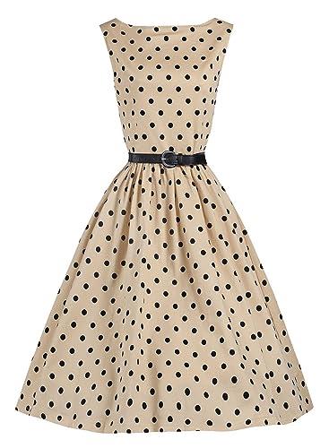 Meikeer® Women's Classic Audrey Hepburn Chiffon Polka Dot Swing 50's Party Dress