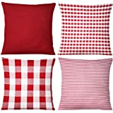 Johouse Check Pillow Cover, 4PCS Buffalo Plaid Check Pillow Cases, 18 x 18inch, Farmhouse Decorative Square Pillow…