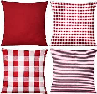 JOHOUSE Check Pillow Cover, 4PCS Buffalo Plaid Check Pillow Cases, 18 x 18inch, Farmhouse Decorative Square Pillow Covers for Home Decor Christmas