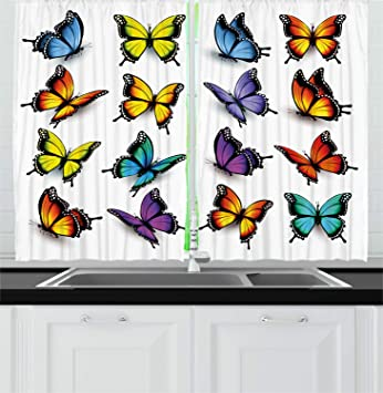Ambesonne Butterfly Kitchen Curtains, Cute Colorful Moth Figures Ancient  Wings Animal Spring Inspirational Design, Window Drapes 2 Panel Set for ...