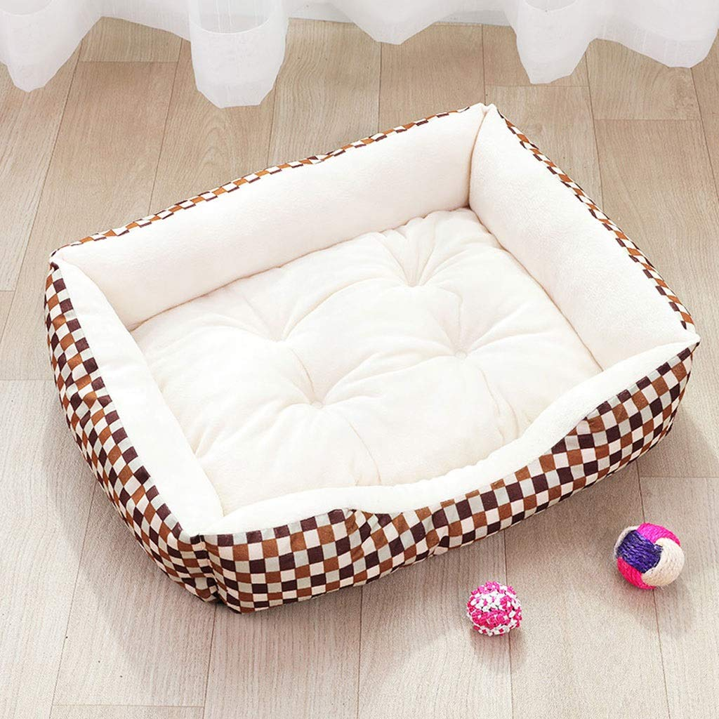 Plaid beige 45x60cm Plaid beige 45x60cm Pet Bed Pet nest Winter Warm Medium Dog Small Dog golden Hair Large Dog Dog mat Four Seasons Universal A+ (color   Plaid Beige, Size   45x60cm)