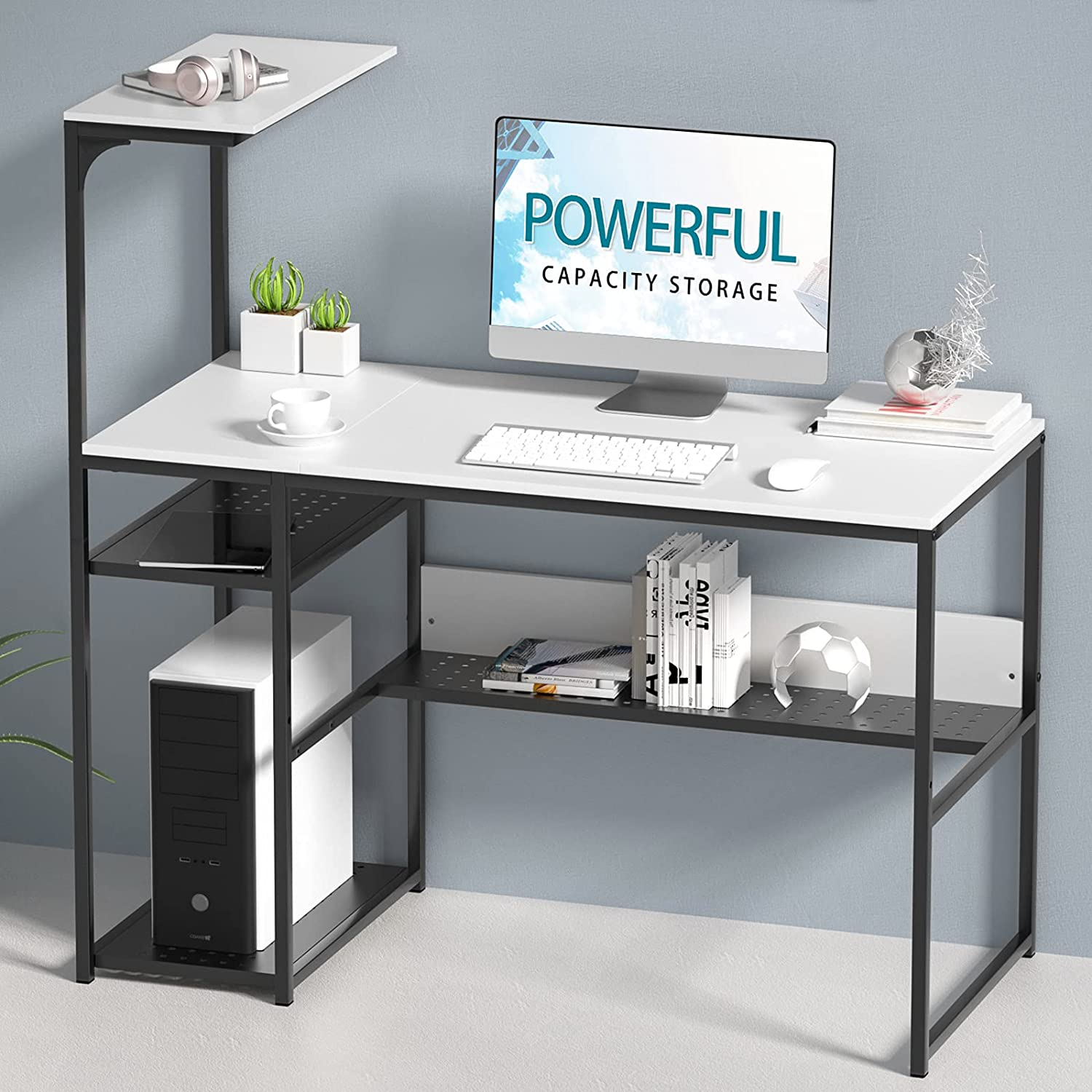 SINPAID White Computer Desk with 4-Tier Reversible Storage Shelves, 40 inch Large Home Office Laptop Study Writing Table Workstation, Modern Simple Desk with Bookshelf