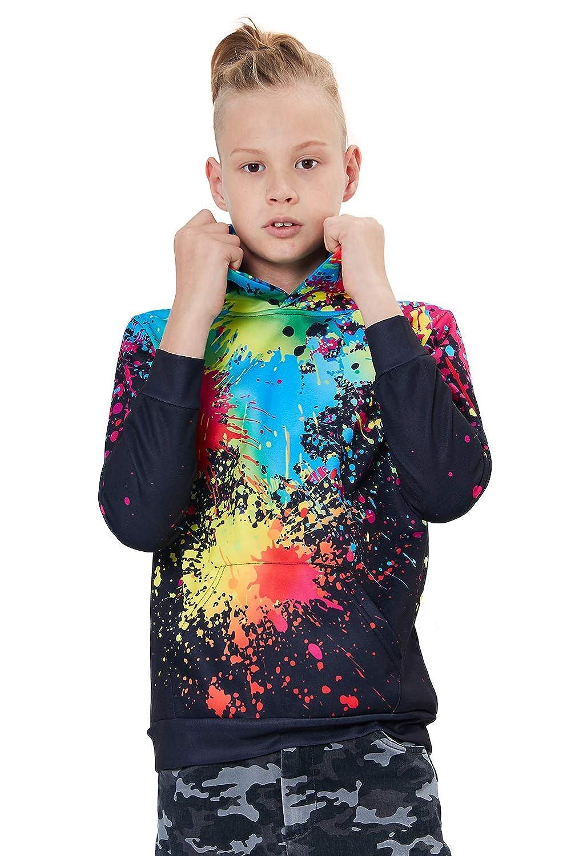 Goodstoworld Enfant Sweat /à Capuche Gar/çon Fille 3D Imprimer Color/é Galaxy et Animale Hoodie Doubl/és Polaire 3-10 Ans