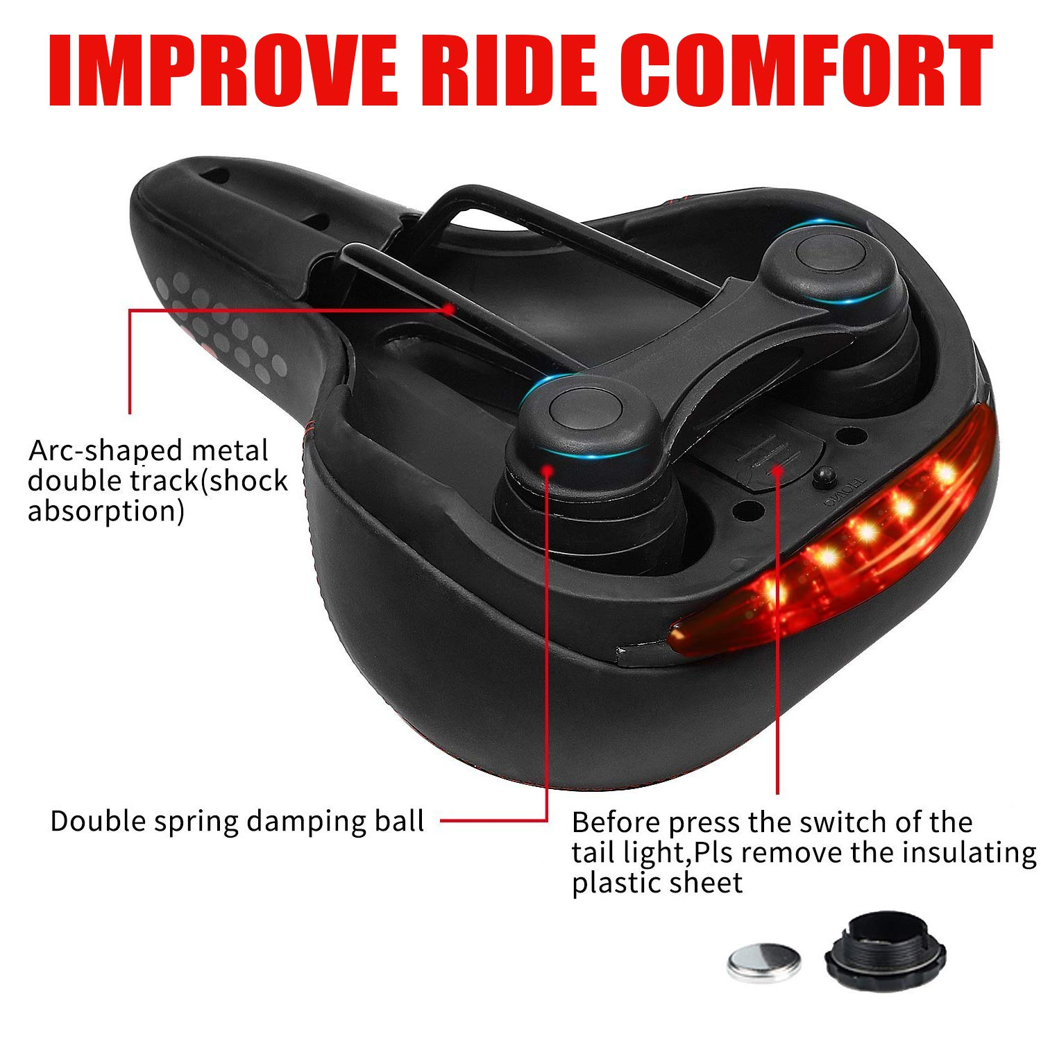 Royal Brands Comfortable Bike Seat Bicycle Saddle with Memory Foam Cushion and A Tail Light Dual Spring Design and Wide Soft Padded Leather Cushion