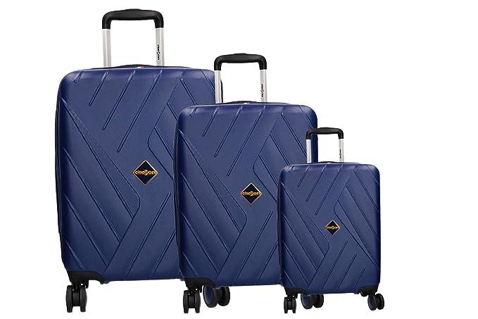 CLACSON 3 Maletas rígidas set azul cabina 4 ruedas ABS equipaje de mano VS316: Amazon.es: Ropa y accesorios